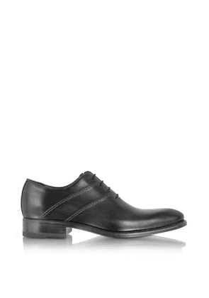 Forzieri Designer Shoes, Black Italian Handcrafted Leather Oxford Dress Shoes