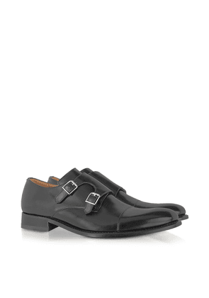 Forzieri Designer Shoes, Italian Handcrafted Black Leather Monk Strap Shoes