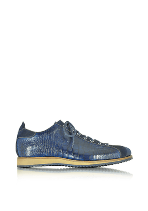 Forzieri Designer Shoes, Italian Handcrafted Indigo Blue Suede & Croco Print Leather Sneaker