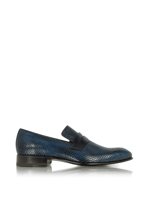 Forzieri Designer Shoes, Italian Handcrafted Ocean Blue Perforated Leather Loafer Shoe