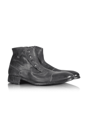 Forzieri Designer Shoes, Smoke Grey Washed Leather Boots