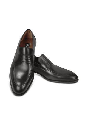 Fratelli Rossetti Designer Shoes, Black Calf Leather Penny Loafer Shoes