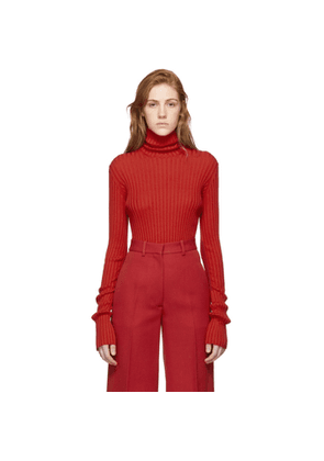 Victoria Beckham Red Sleeve Gathers Polo Turtleneck