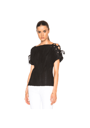 Thakoon Lace Up Sleeve Top in Black