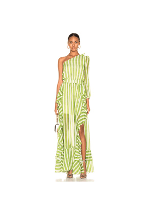 PatBo Striped One Shoulder Maxi Dress in Green,Stripes