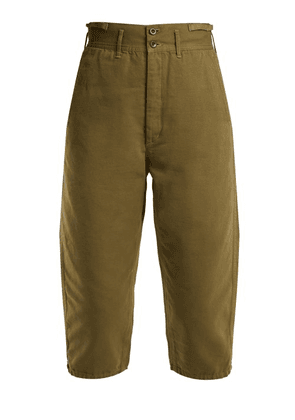 Chimala - High Rise Cotton Cropped Trousers - Womens - Khaki