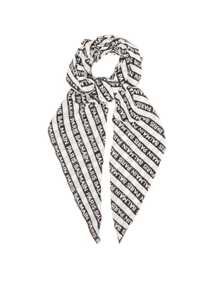 Balmain - Logo Striped Cotton Scarf - Mens - Black White