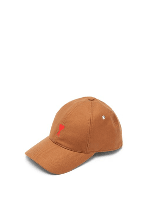 Ami - Logo Embroidered Cotton Baseball Cap - Mens - Tan