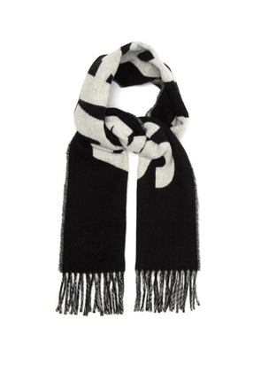 Ami - Logo Wool Blend Scarf - Mens - Black White