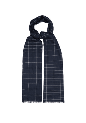 Begg & Co. - Maggie's Crosshatch Superfine Cashmere Scarf - Mens - Navy