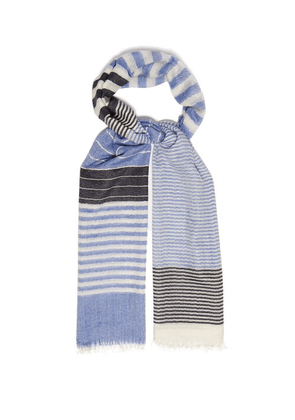 Begg & Co. - Staffa Striped Cashmere And Silk Blend Scarf - Mens - Blue