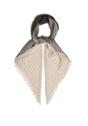 Begg & Co. - Staffa Windowpane Check Cashmere And Silk Scarf - Mens - Grey