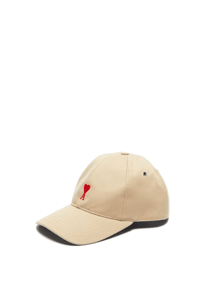 Ami - Logo Embroidered Cotton Cap - Mens - Beige