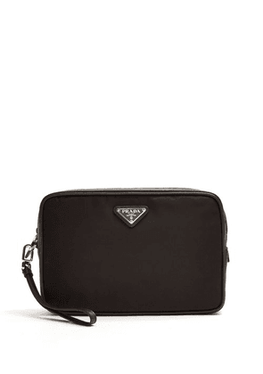 Prada - Leather Trimmed Nylon Wash Bag - Mens - Black