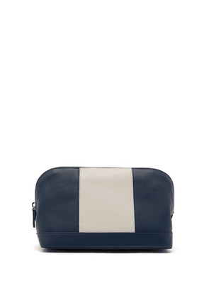 Connolly - Striped Leather Wash Bag - Mens - Blue White