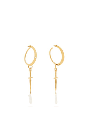 Givenchy - Dagger And Pearl Drop Hoop Earrings - Womens - Gold
