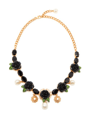 Dolce & Gabbana - Rose And Crystal Embellished Necklace - Womens - Black