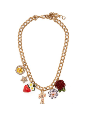 Dolce & Gabbana - Strawberry, Rose, Crystal And Charm Necklace - Womens - Red