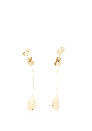 Valentino - Long Leaf Clip On Earrings - Womens - Gold