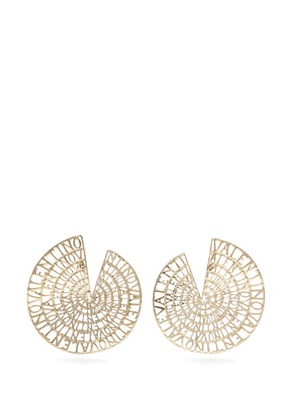 Valentino - Logo Embellished Circle Earrings - Womens - Gold