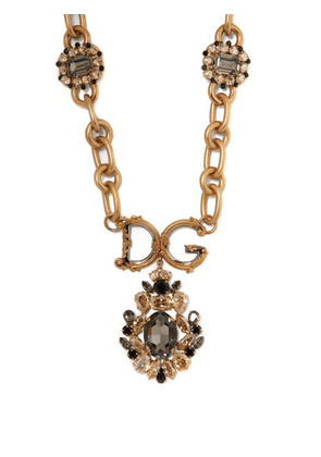 Dolce & Gabbana - Crystal Embellished Logo Necklace - Womens - Crystal