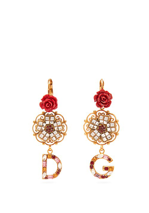 Dolce & Gabbana - Crystal Embellished Floral Earrings - Womens - Red