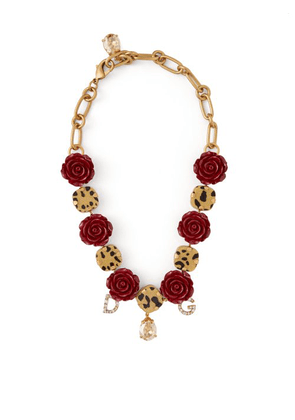Dolce & Gabbana - Crystal Embellished Leopard Print And Rose Choker - Womens - Red