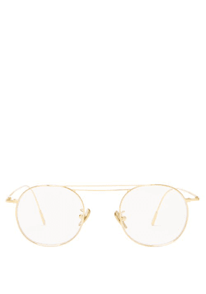 Cutler And Gross - Gold Plated Round Frame Glasses - Mens - Gold