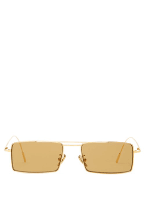 Cutler And Gross - Gold Plated Square Frame Sunglasses - Mens - Yellow