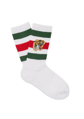 Gucci - Stretch Cotton Blend Socks With Tiger - Mens - White