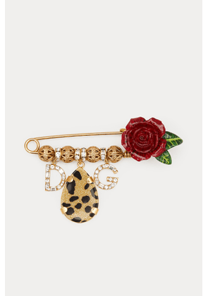 Roses and leopard brooch