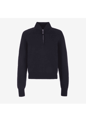 Bally Half Zip Wool Jumper Blue, Men's wool knitted jumper in ink