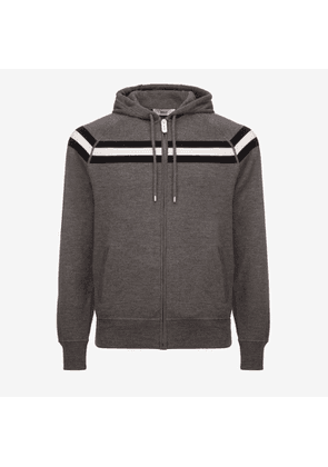 Bally Wool Knit Lounge Hoodie Grey, Men's knitted wool hoodie in grey