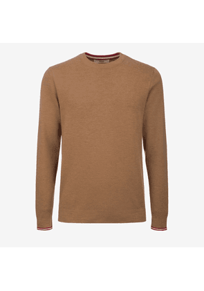 Bally Wool Knit Crewneck Jumper Brown, Men's wool knit jumper in camel