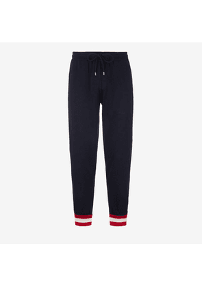 Bally Wool Knit Lounge Trousers Blue, Men's knitted wool lounge trousers in ink