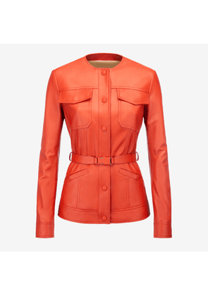 Bally Belted Nappa Jacket Red, Women's nappa leather jacket in papavero