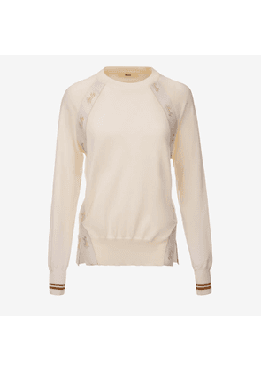 Bally Ribbon Crewneck Jumper White, Women's cotton knit jumper in bone