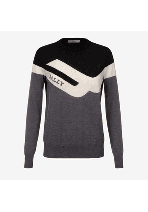 Bally Competition Crew Neck Jumper Grey, Women's wool jumper in multi-grey