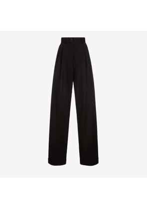 Bally High Waisted Trousers Black, Women's cotton gabardine trousers in black