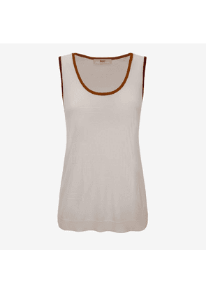 Bally Viscose Knit Tank Top White, Women's viscose knit tank top in bone