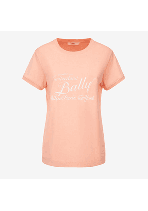 Bally Archive Label Print T-Shirt Pink, Women's cotton t-shirt in melrose