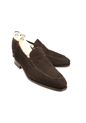 Carmina Brown Suede Norwegian Split Toe Penny Loafers