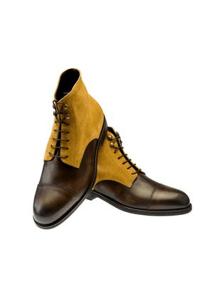 Belsire Brown Leather and Caramel Suede Oxford Boots