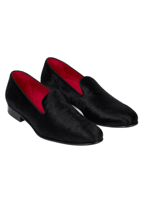 Matthew Cookson Black Hairy Calf Leather Slippers