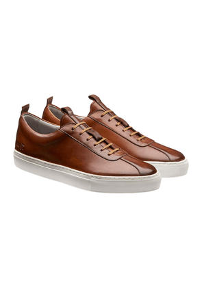Grenson Tan Grain Leather Low Top Sneakers