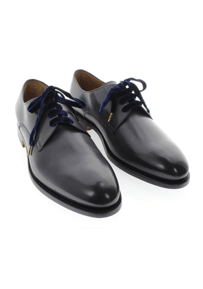 Doucal's Dark Blue Calfskin Leather Derby Shoes