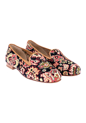 Stubbs & Wootton Black Patterned Needlepoint Slippers