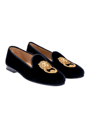 Stubbs & Wootton Black Velvet Lion Knocker Embroidered Slippers