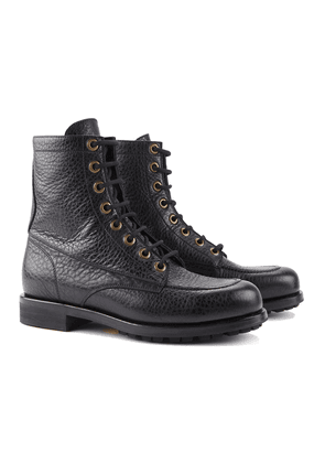 Barbanera Black American Buffalo Leather Work Boots with Rubber Sole