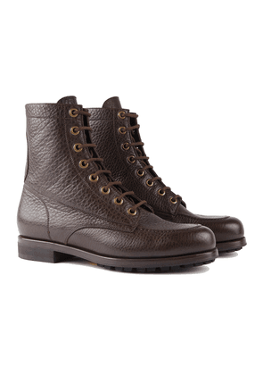 Barbanera Brown American Buffalo Leather Work Boots with Rubber Sole